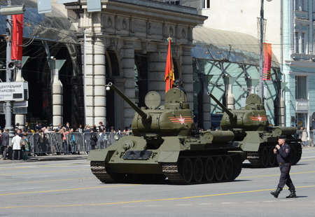 historical periods: Medium tank T-34-85 during the rehearsal of the parade dedicated to the 70th anniversary of the Victory in the great Patriotic war.