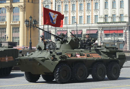armoured: The BTR-82A is an Russian 8x8 wheeled amphibious armoured personnel carrier (APC) with Marines.