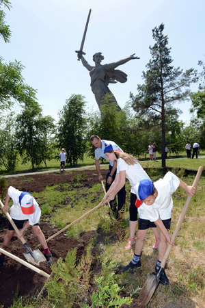major battle: Children caring for green spaces on Mamaev hill.