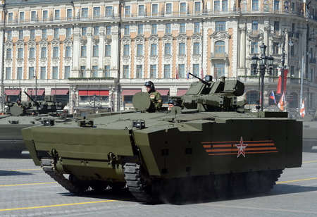 tracked: Infantry fighting vehicle BMP on medium tracked platform kurganets-25 for the parade rehearsal in Moscow.