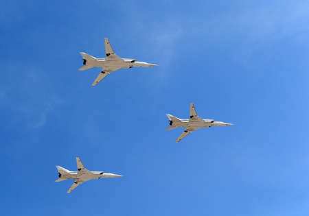 variable: The strategic aircraft of the Tu-22M3, long-range supersonic missile-bomber with variable geometry wings during a rehearsal of the parade.