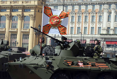 modernization: Marines in honor rehearsal of the Victory parade in Moscow on the BTR-82A (deep modernization of BTR-80)