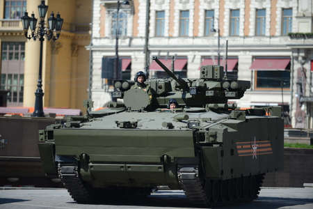 tracked: A new IFV T-15 Armata on medium tracked platform on the General parade rehearsal in Moscow. Editorial