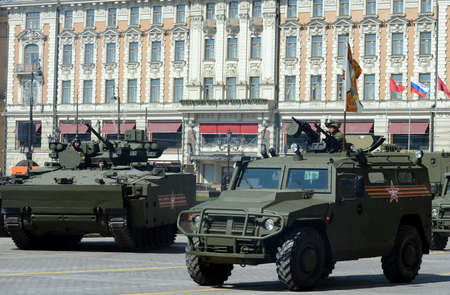 rehearsal: Rehearsal of parade in honor of Victory Day in Moscow. Editorial