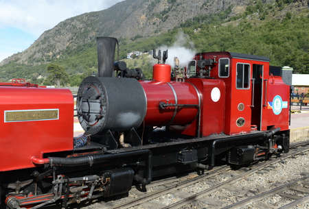 narrow gauge railways: The southernmost railway in the world on the edge of the Earth. Ushuaia National Park. Tierra del Fuego.