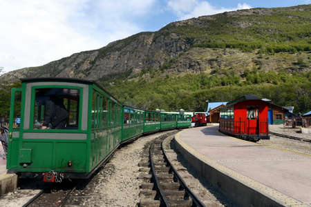 narrow gauge railroads: The southernmost railway in the world on the edge of the Earth. Ushuaia National Park. Tierra del Fuego.