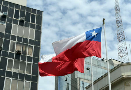 chilean flag: Chilean national flag, Plaza Sotomayor, Valparaiso.