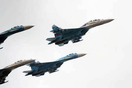 supersonic transport: Aerobatic teams Falcons Of Russia on planes Su-27