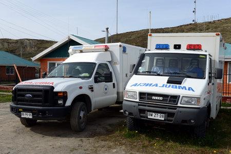 tierra: The ambulances in the village of Cameron. Tierra Del Fuego Editorial