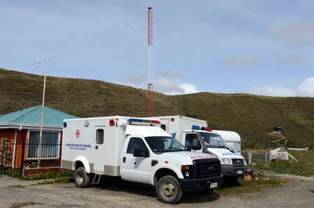 outpatient: The ambulances in the village of Cameron. Tierra Del Fuego Editorial