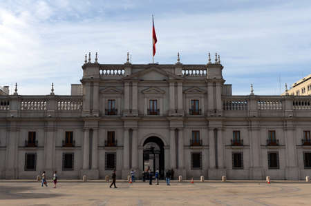 santiago: The Presidential Palace in Santiago Chile. Also called La Moneda.