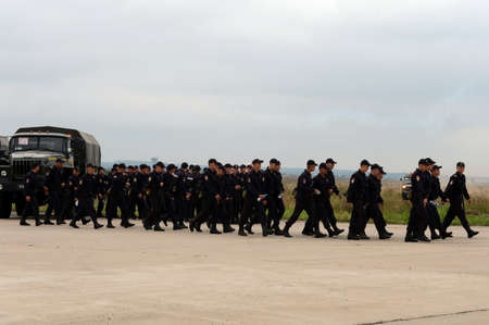 troops: The soldiers of internal troops of the MIA of Russia on the rule of law at Airshow MAKS-2013. Editorial
