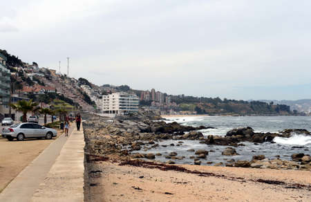 agglomeration: The beach in viña del Mar. Chile Editorial