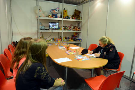 children's show: Childrens room at the police station at the air show MAKS-2013 Editorial