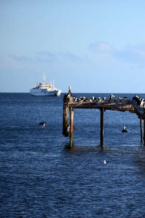 strait of magellan: Punta Arenas. The Strait of Magellan Stock Photo