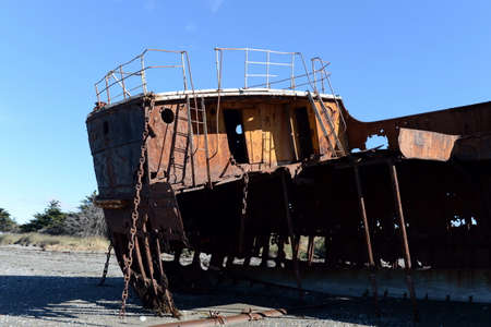 strait of magellan: Rusty ship on the shore of the Strait of Magellan in the village of San Gregorio.