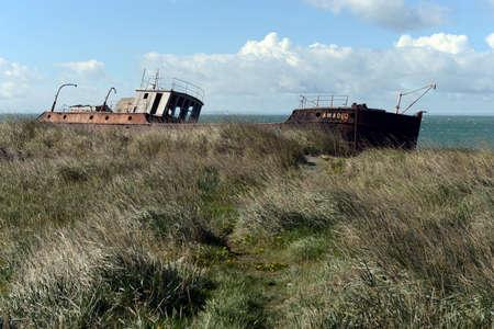 strait of magellan: Rusty ship on the shore of the Strait of Magellan in the village of San Gregorio.