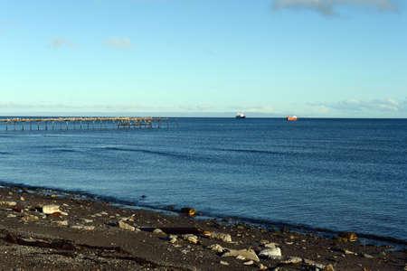 strait of magellan: Punta Arenas. The Strait of Magellan Stock Photo