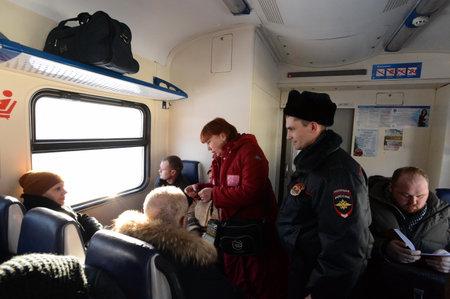 inspectors: Inspectors check tickets on the commuter elektropoezda.