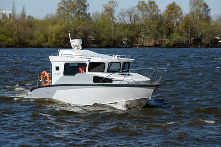 patrol: Patrol boat KS-820R on the river Moscow.