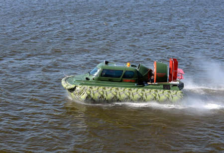 permeability: Amphibious boat Slavir 636 on the river Moscow. Editorial