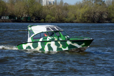 patrol: Patrol boat on the river Moscow.