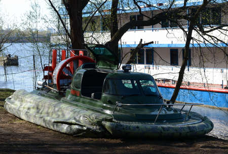 the amphibious: Amphibious boat Slavir 636 on the river Moscow. Editorial