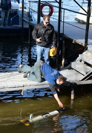 autonomous: The marine scientists launch an Autonomous underwater unmanned vehicles.
