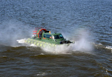 Amphibious boat Slavir 636 on the river Moscow. Editorial