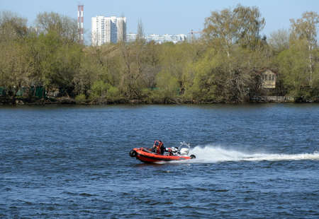 Amphibious boat SEALEGS on the river Moscow. Editorial