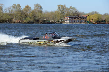 Speed ??boat Ka-Khem 665 on the river Moscow. Editorial