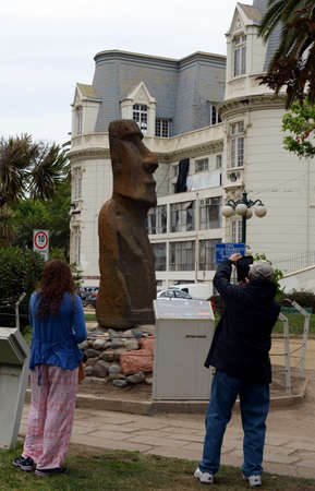 moai: Stone moai statue from Easter island in Vina del Mar Editorial