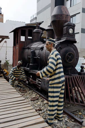 convicts: Sculpture of convicts in Ushuaia. Editorial