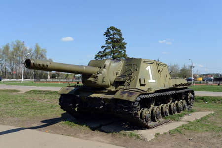 instance: Heavy self-propelled artillery ISU-152 at the memorial complex line of Glory on the Volokolamsk highway. Editorial