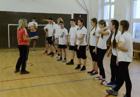 Gym class in the cadet corps of the police.