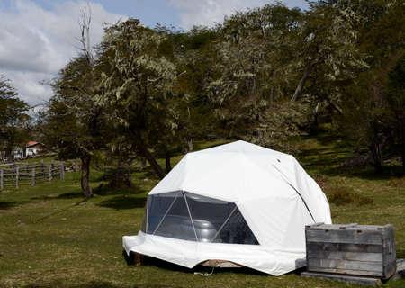 tierra del fuego: Eco-friendly camp in Tierra del Fuego. Stock Photo