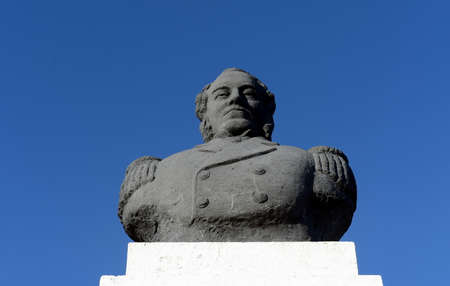 schooner: A bust of the commander of the schooner Ancud John William Wilson in city of Punta arenas. Editorial
