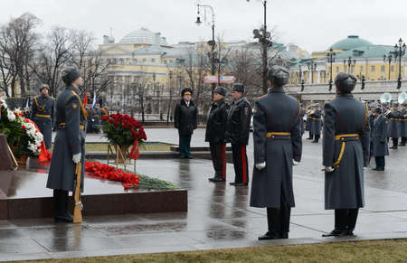 arkady: The ceremony of laying flowers and wreaths at the monument to Marshal Georgy Zhukov during the celebration of defender of the Fatherland Day.