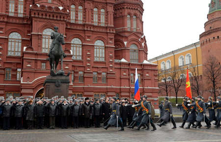 marshal: Solemn March of the honor guard after laying flowers to the monument to Marshal Georgy Zhukov in Moscow