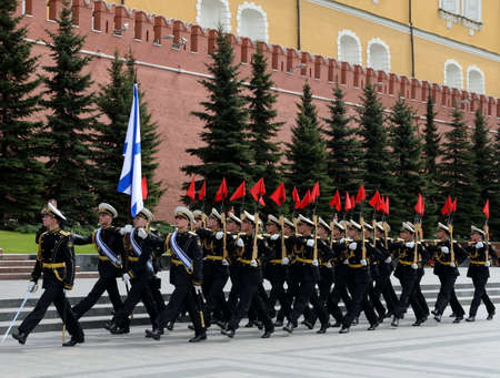 solemn: Solemn March of the honor guard after laying flowers to the tomb of the Unknown Soldier in Moscow.