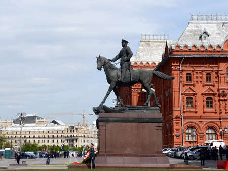 marshal: The monument to Marshal Georgy Zhukov near the Historical Museum.