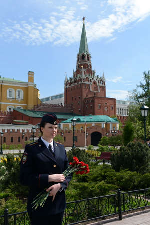 cadet blue: Police in the Alexander garden in Moscow. Editorial