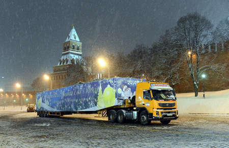 Shipping on trailer home of the all-Russian Christmas tree in the Kremlin. Editorial
