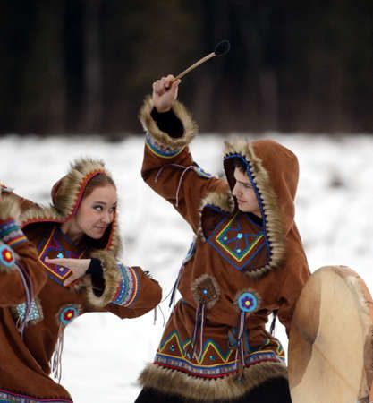 winter dance: Dancers perform the dance of the peoples of the North for the new year holiday. Editorial