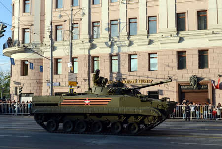rehearsal: Infantry fighting vehicle BMP-3 on the rehearsal of the parade dedicated to Victory Day.