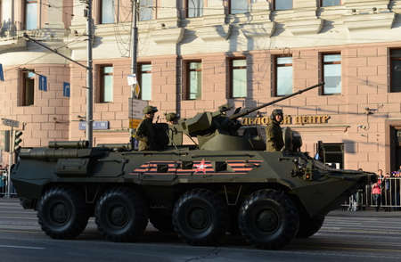 armoured: The BTR-82 is an 8x8 wheeled amphibious armoured personnel carrier (APC).