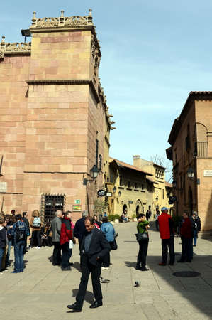 spanish village: Tourists in the Spanish village.