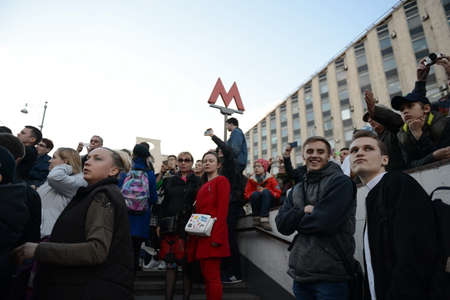 a rehearsal: Muscovites watching the rehearsal of the military parade on Tverskaya Street in Moscow.