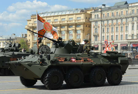 armoured: The BTR-82 is an 8x8 wheeled amphibious armoured personnel carrier (APC) Editorial