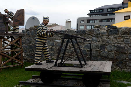 convicts: Sculpture of convicts in Ushuaia.Ushuaia is the southernmost city in the world.